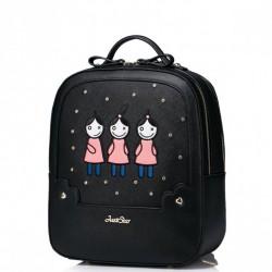 Dziewczęcy plecak z zabawnym wzorem Czarny