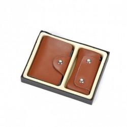 Zestaw brązowy: wizytownik + etui na klucze