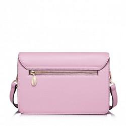 Krótki damski portfel z naturalnej skóry Różowy