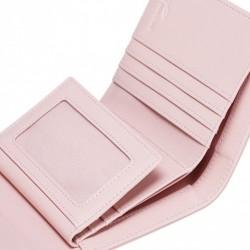 JUST STAR Krótki dziewczęcy portfel ze skóry ekologicznej Różowy