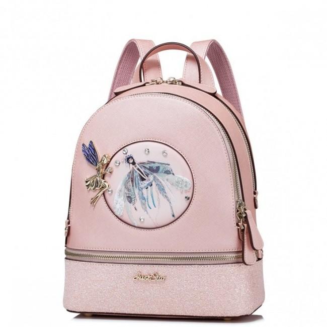 JUST STAR Dwukomorowy plecak ze skóry ekologicznej Różowy
