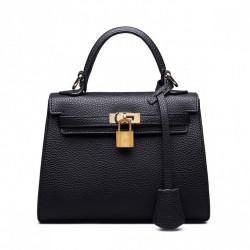 ZHUOLUXUE Zgrabna mini torebka z kłódką Czarna