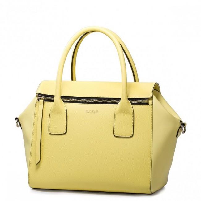 Modna skórzana torebka Żółta