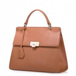 Damska torebka do ręki z bydlęcej skóry Brązowa