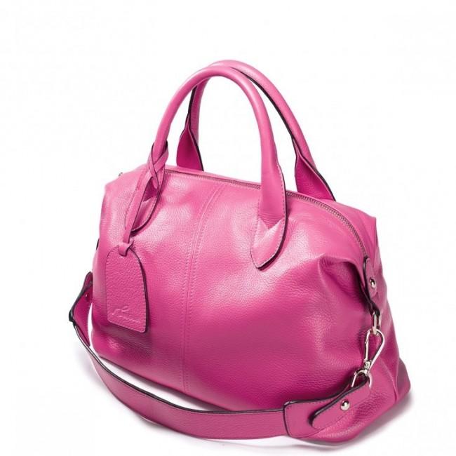 Modna damska torebka z naturalnej skóry Różowa