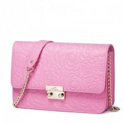NUCELLE Skórzana damska kopertówka na ramię Różowa