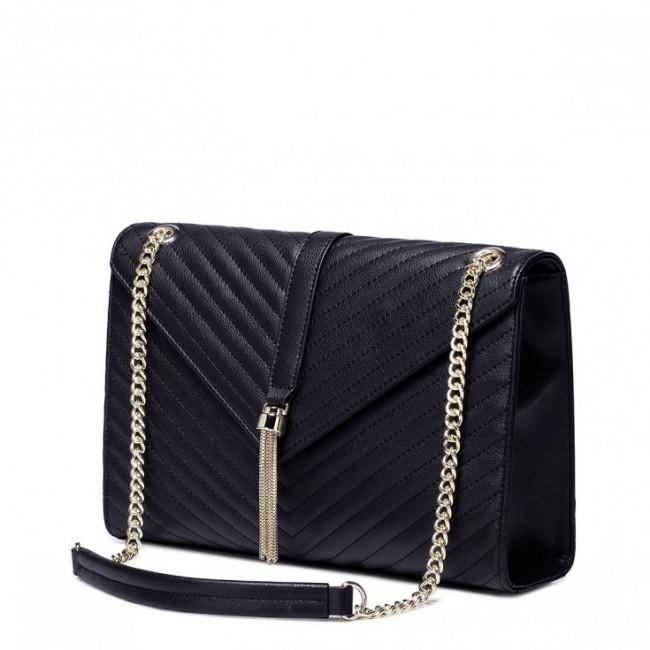 NUCELLE Skórzana damska torebka na łańcuszku Czarna