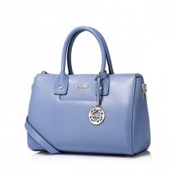 Luksusowa damska torebka w stylu bostońskim Niebieska