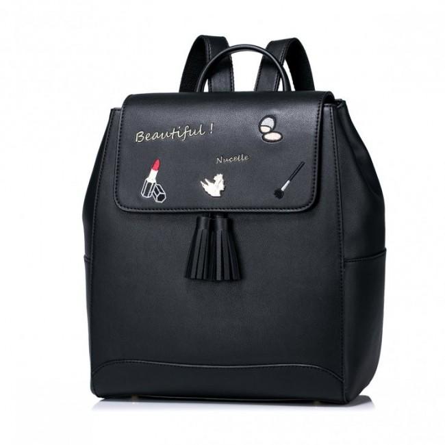 NUCELLE Zdobiony plecak z frędzlami Czarny