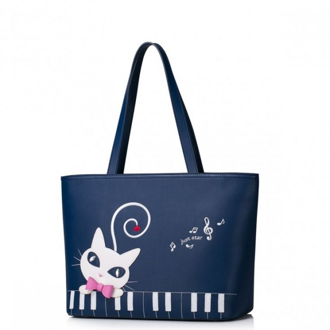 JUST STAR Shopper z maxi kotem Granatowy