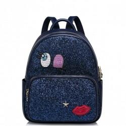 Modny damski plecak z naszywkami Niebieski