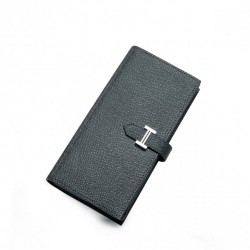 Elegancki skórzany portfel męski Grafitowy
