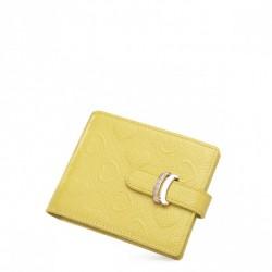 Poziomy portfel w tłoczone serduszka Cytrynowy