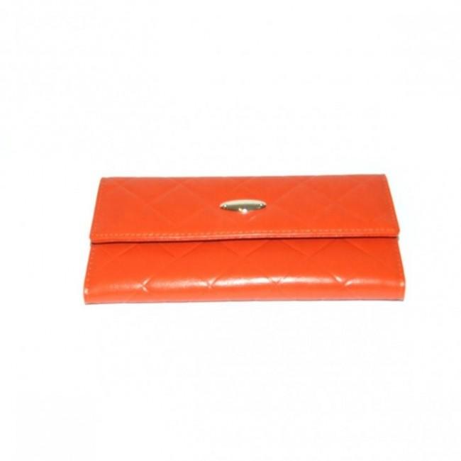 Bastien de Brisay Pikowany portfel skórzany pomarańczowy
