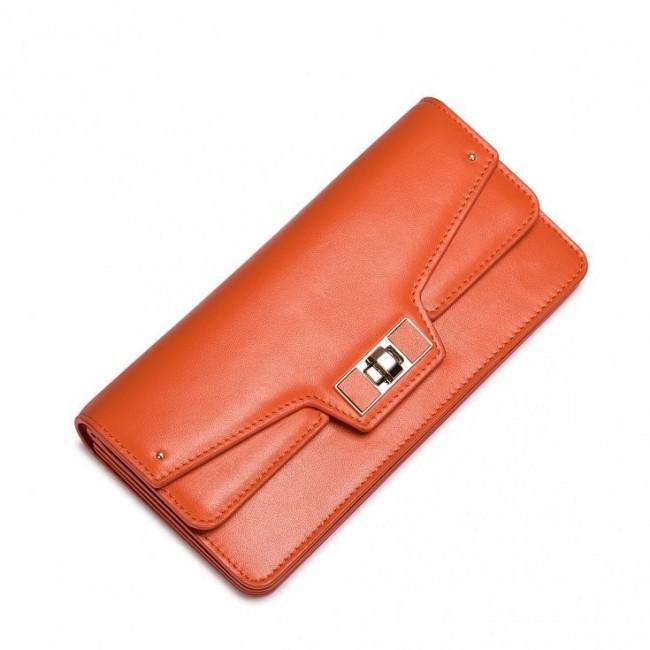 NUCELLE Damski portfel zapinany na klamrę Pomarańczowy