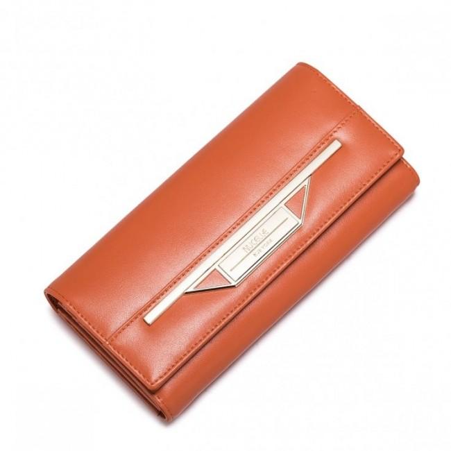 NUCELLE Stylowy damski portfel ze skóry Pomarańczowy