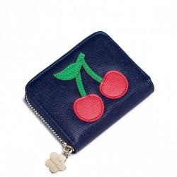 Krótki dziewczęcy portfel z owocowym wzorem Niebieski