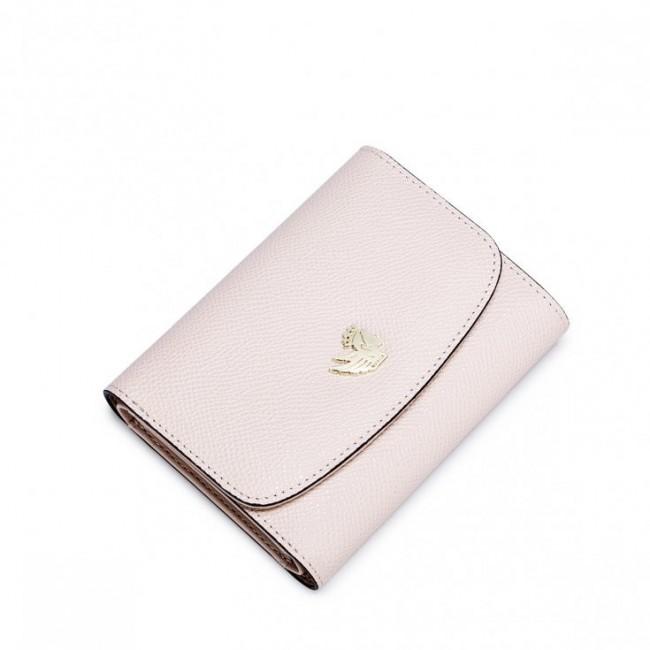 Krótki damski portfel ze skóry bydlęcej Różowy