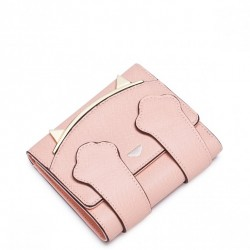 """Krótki dziewczęcy portfel """"Kocia głowa"""" Różowy"""