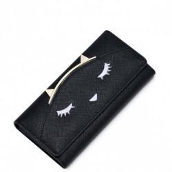 """Długi dziewczęcy portfel """"Kocia twarz"""" Czarny"""