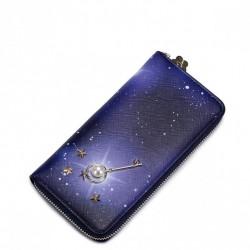JUST STAR Fantastyczny portfel ze skóry ekologicznej Granatowy
