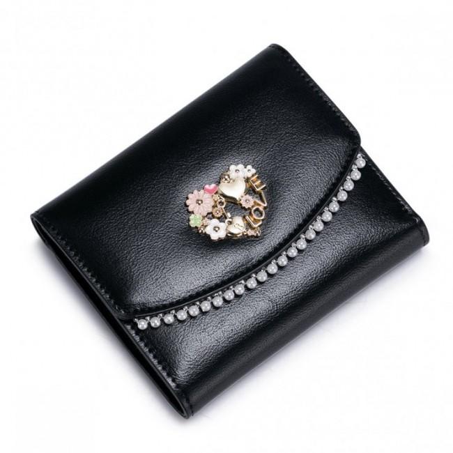NUCELLE Krótki perłowy portfel Czarny