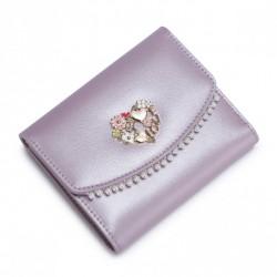 NUCELLE Krótki perłowy portfel Purpurowy