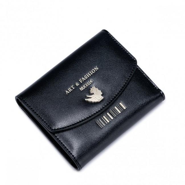NUCELLE Krótki uroczy portfel Czarny