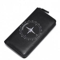 SAMMONS Długi zapinany portfel z motywem kompasu Czarny