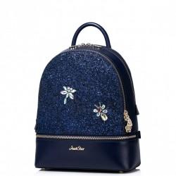 Dziewczęcy plecak z połyskującymi dekoracjami Niebieski