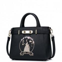 Dziewczęca torebka do ręki z wizerunkiem księżniczki Czarna