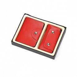 Zestaw czerwony: wizytownik + etui na klucze