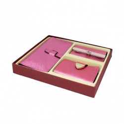 Ekskluzywny zestaw: portfel+etui na klucze+wizytownik Różowy