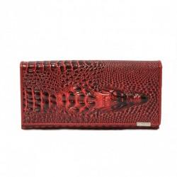 Unikatowy krokodyli portfel Czerwony