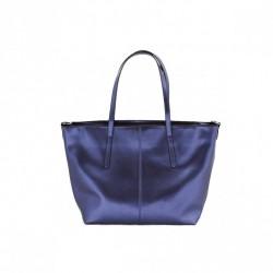 Metaliczny kobiecy shopper Niebieski
