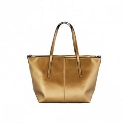 Metaliczny kobiecy shopper Złoty