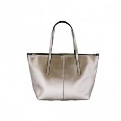 Metaliczny kobiecy shopper Szary