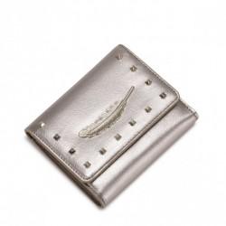NUCELLE Krótki portfel z piórkiem Złoty