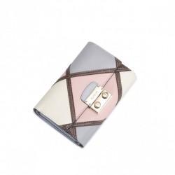 NUCELLE Kobiecy kontrastowy skórzany portfel Różowy