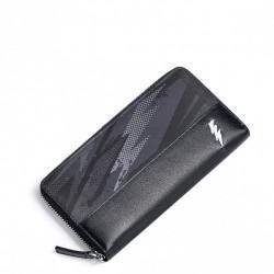 SAMMONS Długi skórzany portfel błyskawica czarny
