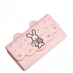 JUST STAR Długi portfel z królikiem różowy