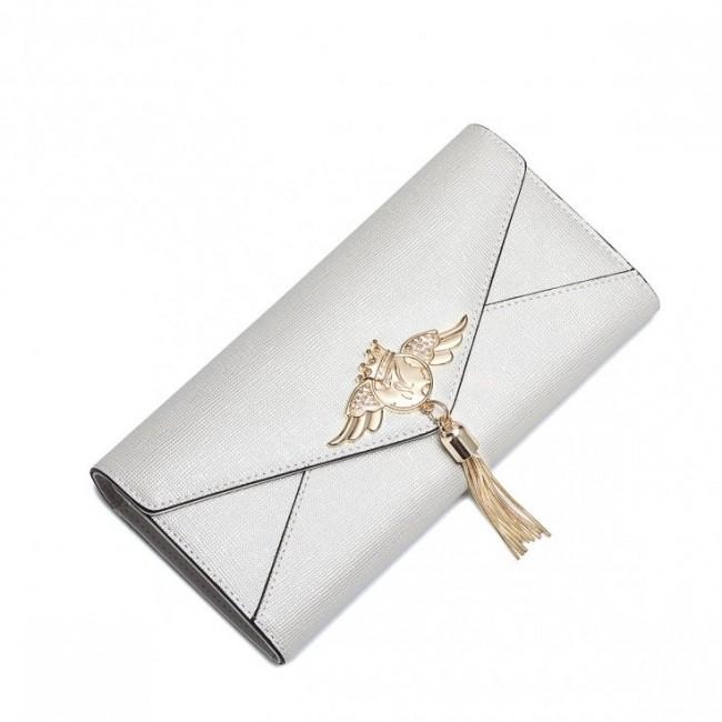NUCELLE  Ciekawy długi portfel perłowy ecru