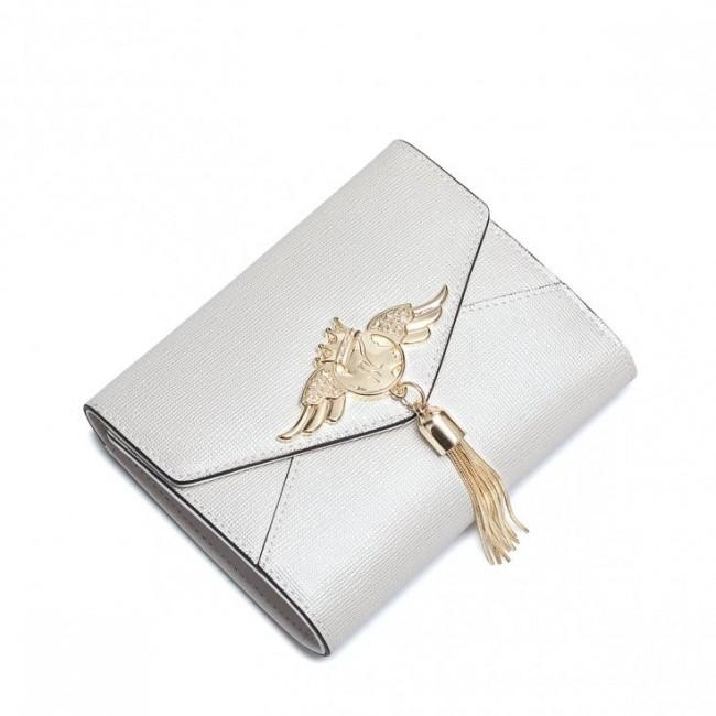 NUCELLE Ciekawy portfel perłowy ecru