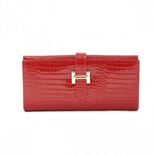 Gustowny lakierowany portfel Czerwony