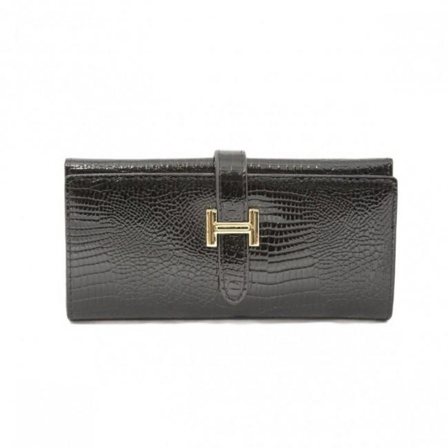 Gustowny lakierowany portfel Czarny