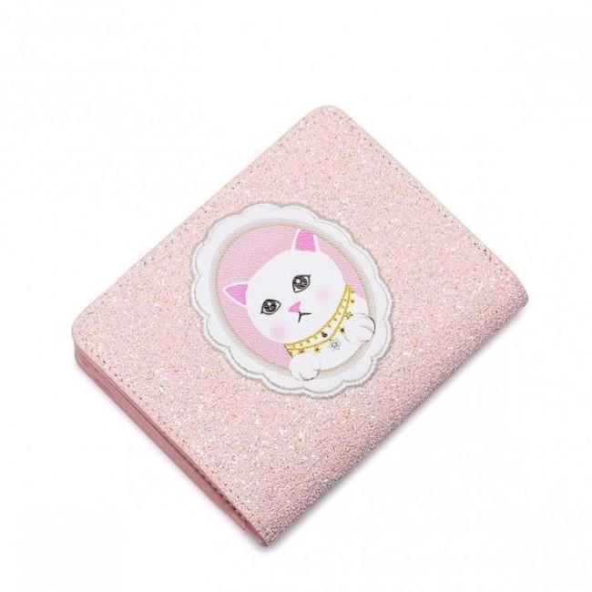 JUST STAR Różowy brokatowy portfel różowy