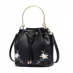 JUST STAR Worek białe kwiaty na ramię czarny