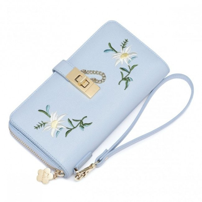 0e03f448bb16e JUST STAR Kwiatowy portfel niebieski niebieski skóra ekologiczna ...