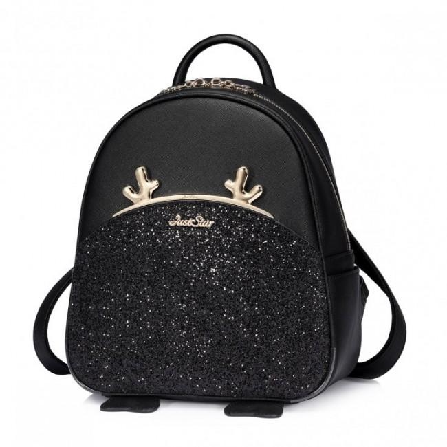 JUST STAR Brokatowy plecak Czarny