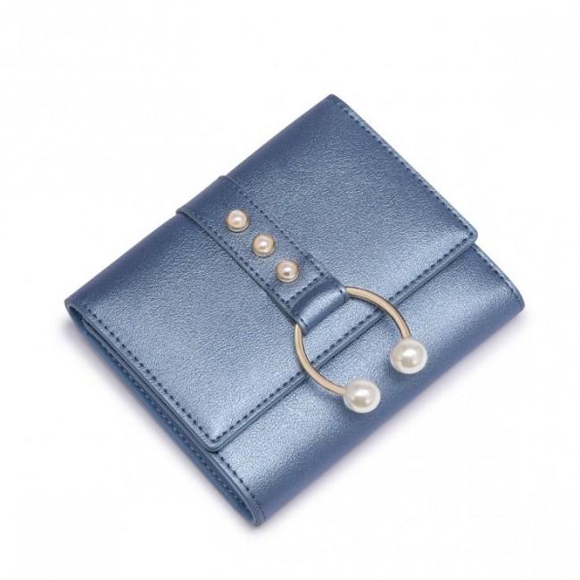 NUCELLE Krótki metaliczny portfel niebieski